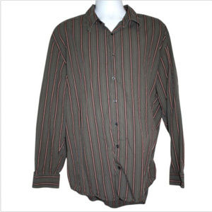 Old Navy Mens Size XXL Shirt Gray Brown Striped
